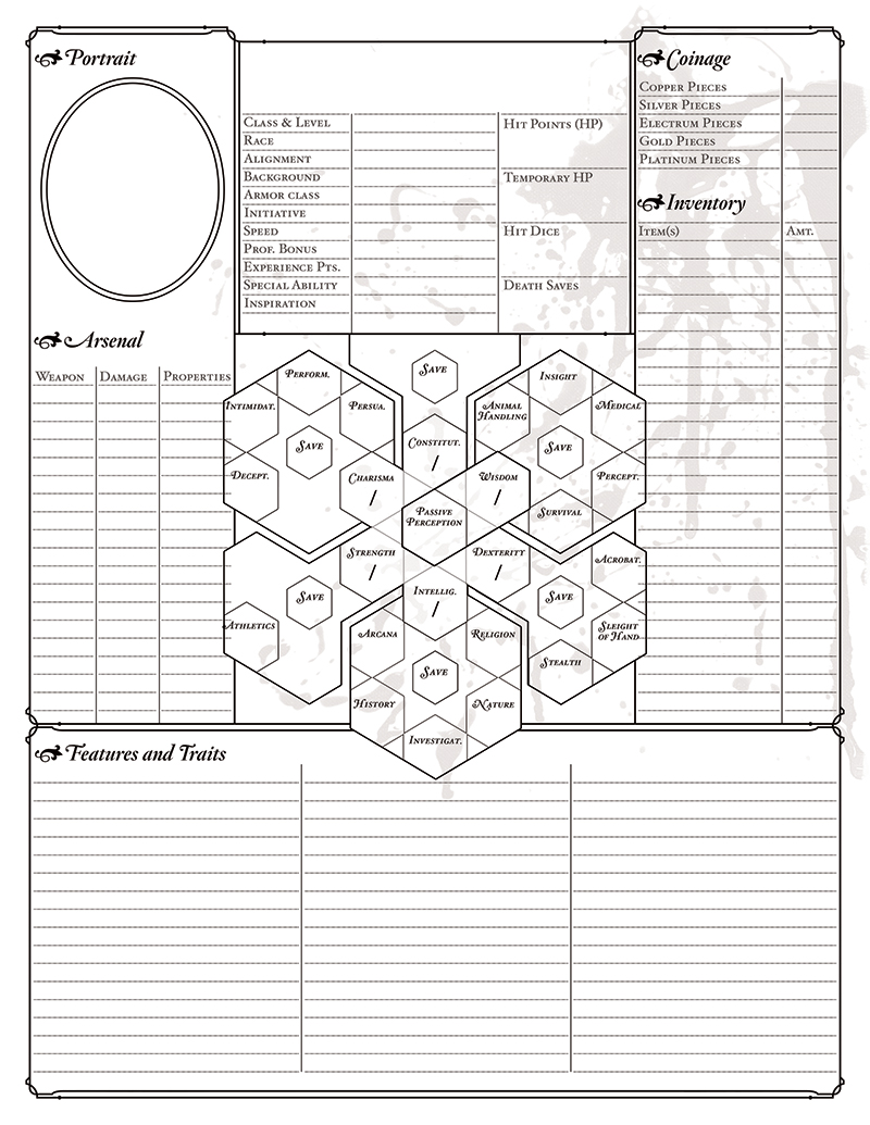 Bitterhusks Dungeons and Dragons, 5th Edition Character Sheet, ruled, page 1